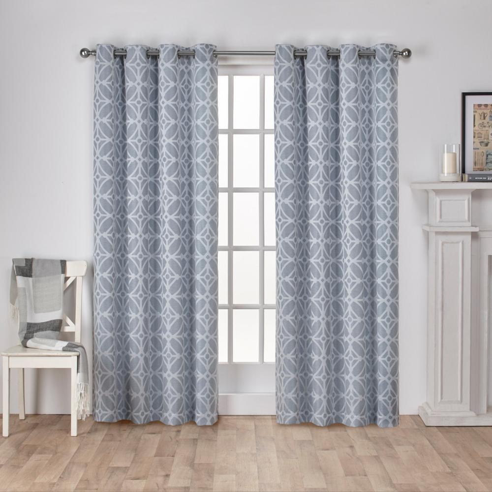 Cressy Steel Blue Geometric Textured Linen Jacquard