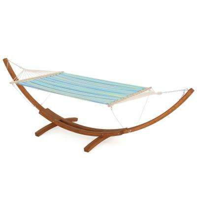 13.68 ft. Free Standing Polyester Fabric Hammock Bed in Striped Blue and Yellow