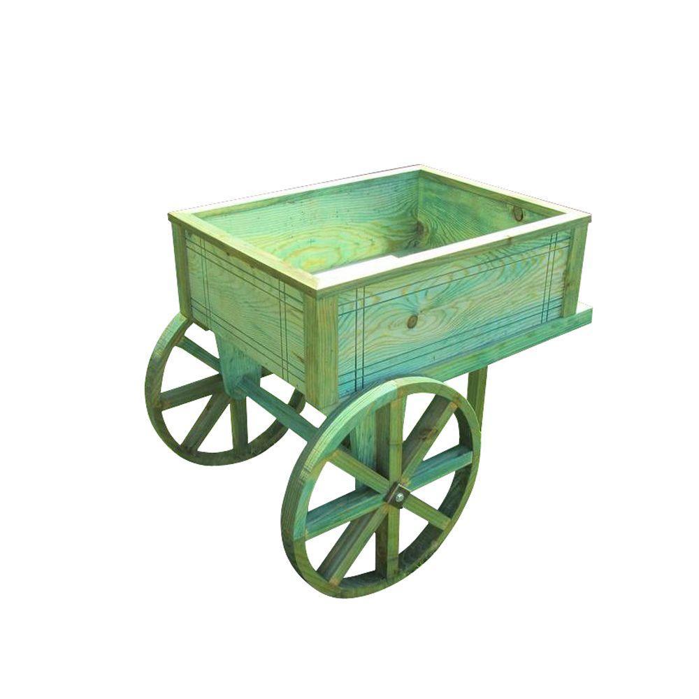 Green Wooden Flower Cart Planter