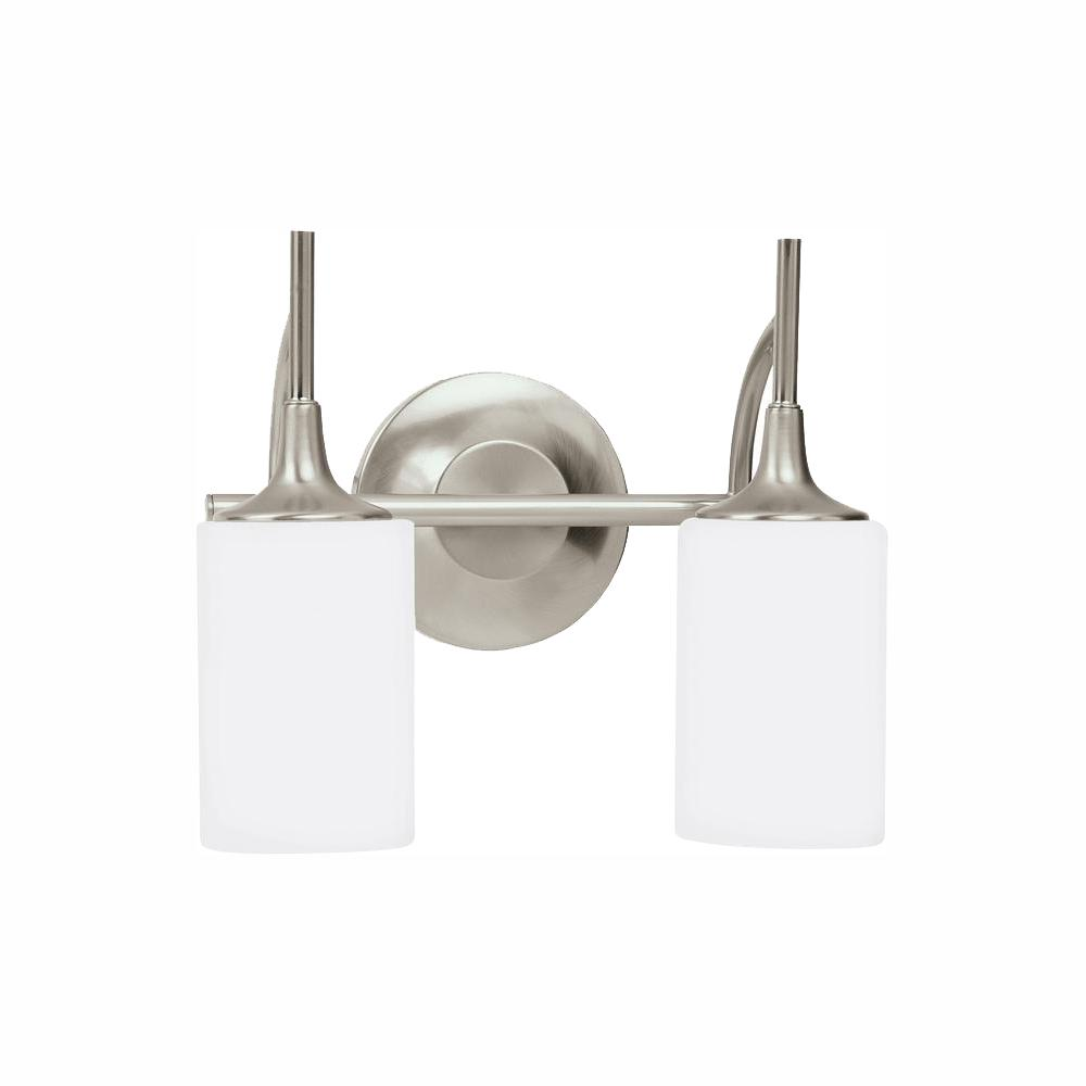 Sea Gull Lighting Stirling 2-Light Brushed Nickel Bath Light with LED Bulbs