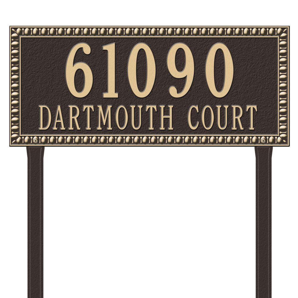 Egg and Dart Rectangular Bronze/Gold Estate Lawn Two Line Address Plaque