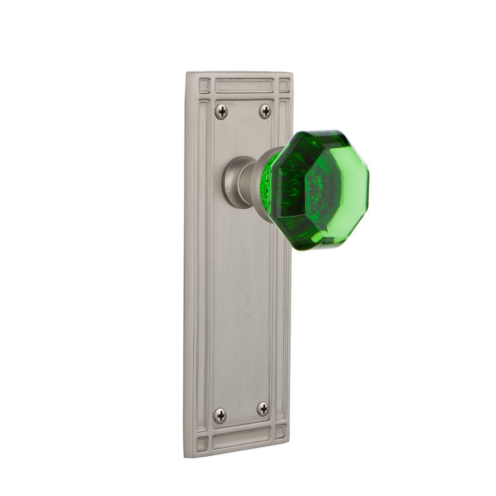 Nostalgic Warehouse Mission Plate 2-3/8 in. Backset Satin Nickel Privacy Bed/Bath Waldorf Emerald Door Knob