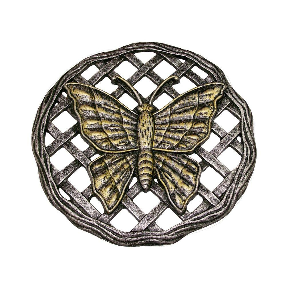 Oakland Living 12 in. x 12 in. Circular Butterfly Aluminum Step Stone in Antique Pewter