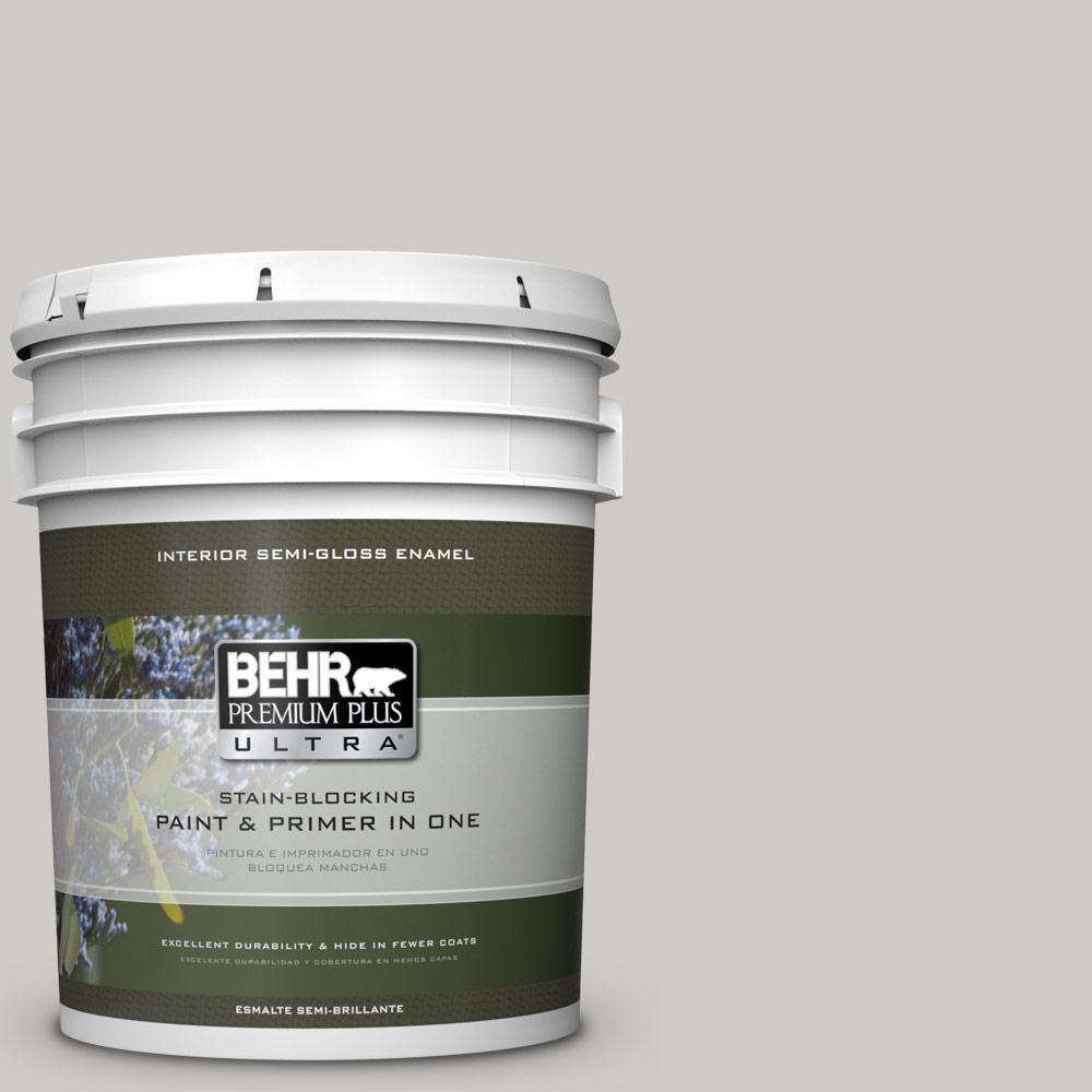 5 gal. #PPU26-10 Chic Gray Semi-Gloss Enamel Interior Paint