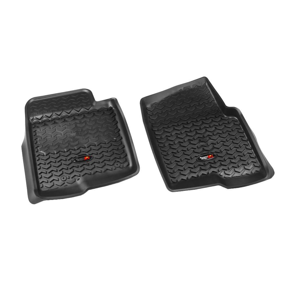 Rugged Ridge Floor Liner Front Pair Black 2012-2013 Ford F150 Single/Double Hook