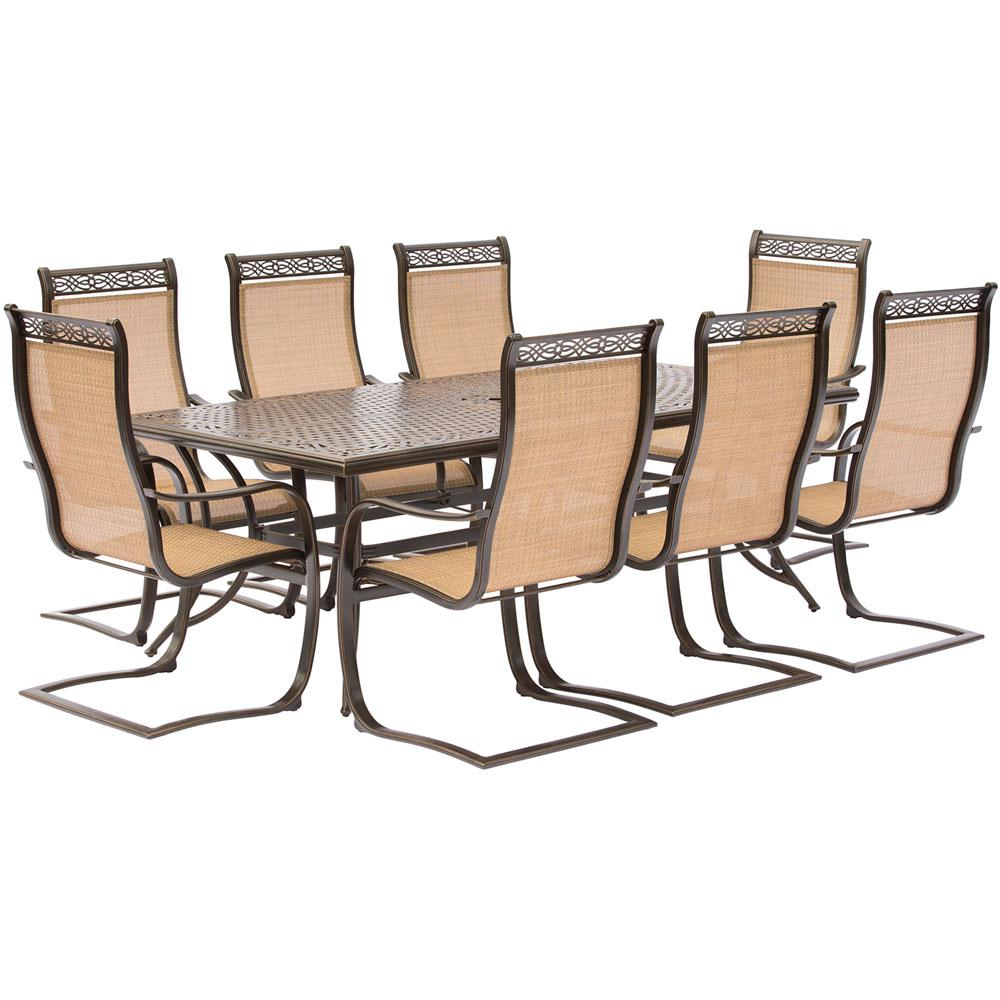 outdoor sling chairs. Hanover Manor 9-Piece Aluminum Rectangular Outdoor Dining Set With Spring Sling Chairs And Cast T