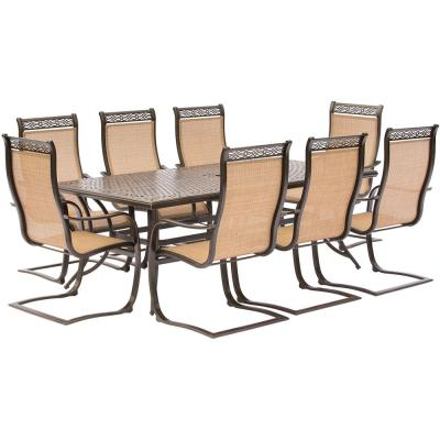 Manor 9-Piece Aluminum Rectangular Outdoor Dining Set with Spring Sling Chairs and Cast-Top Table