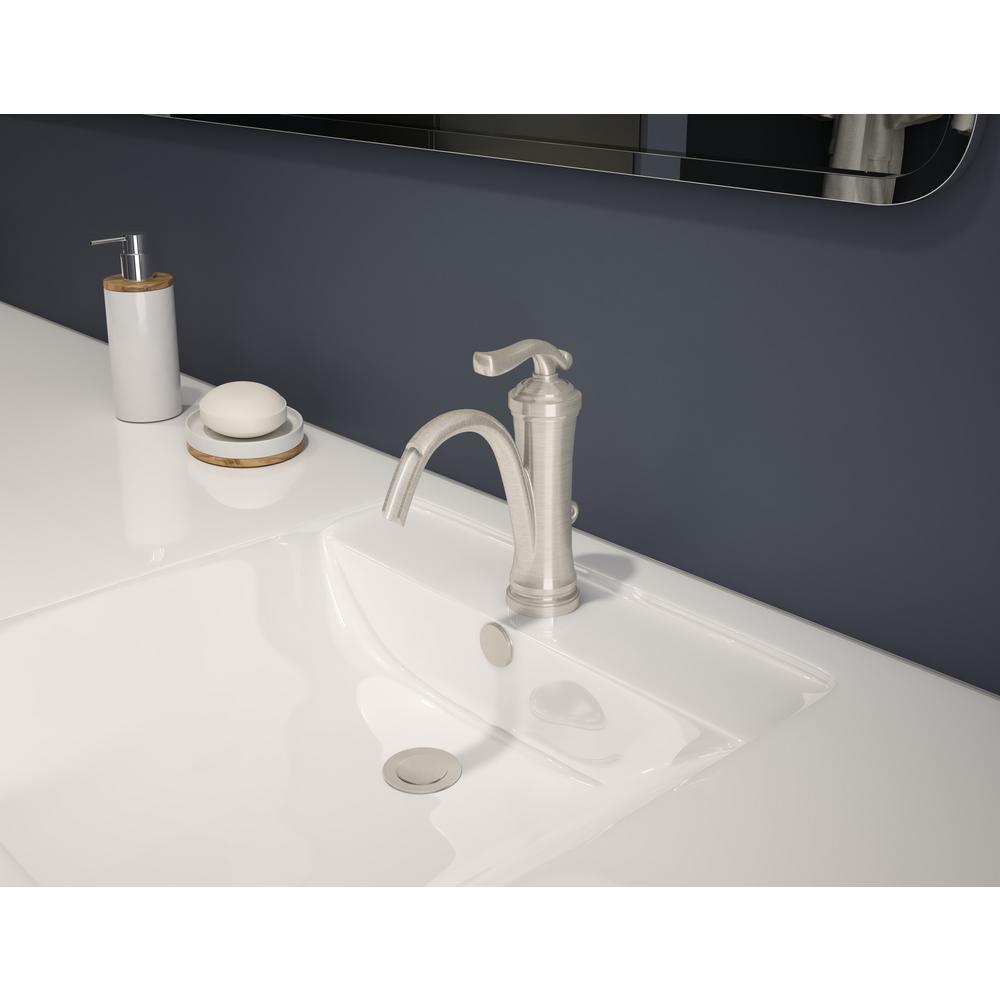 Winslet Single Hole Single-Handle High-Arc Bathroom Faucet in Satin Nickel