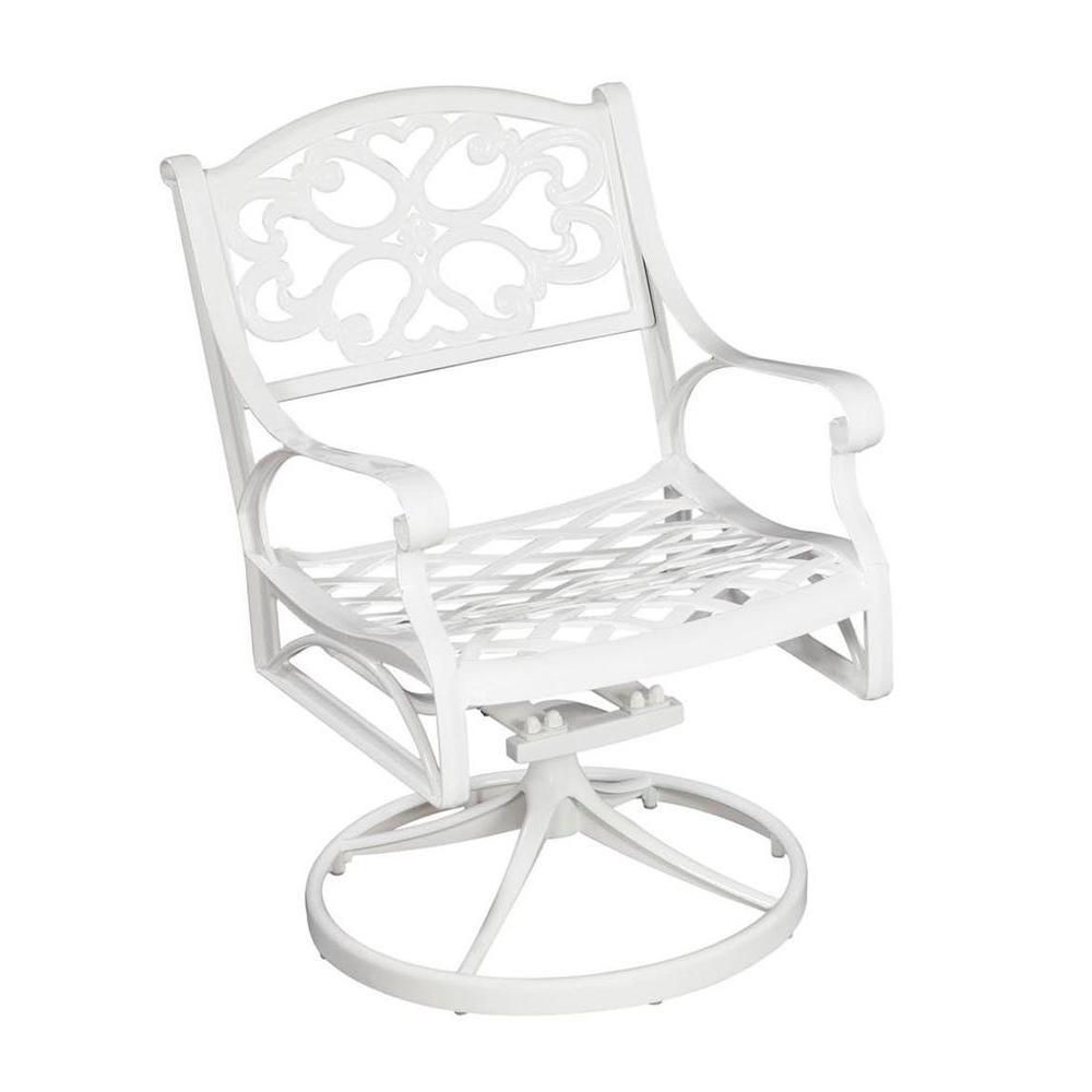 Home Styles Biscayne White Swivel Patio Dining Chair