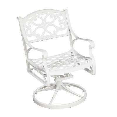 Biscayne White Swivel Patio Dining Chair