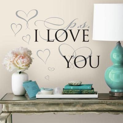 5 in. x 11.5 in. PS I Love You 8-Piece Peel and Stick Wall Decal