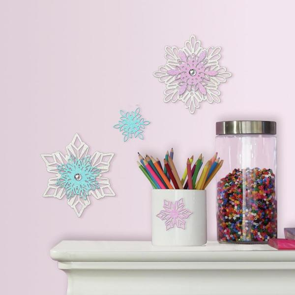 16b0db117 RoomMates 5 in. x 10.5 in. Disney Frozen Snowflakes 4-Piece Embellishments