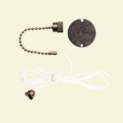 3-Speed Antique Brass Pull Chain Fan Switch