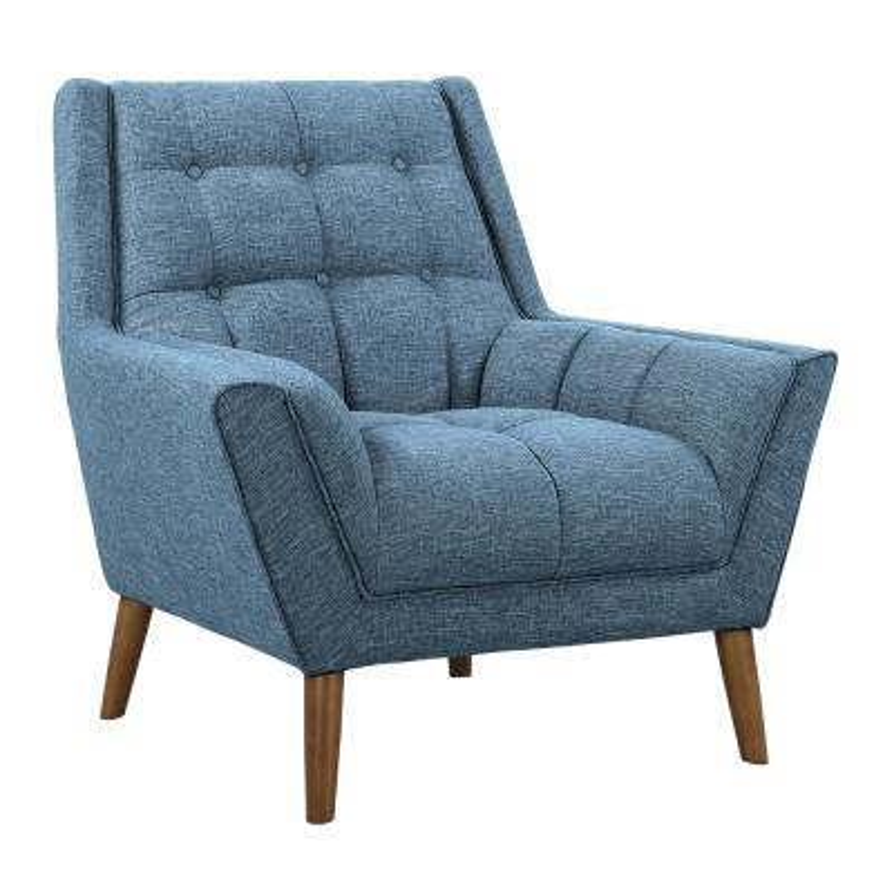 Cobra Blue Linen and Walnut Legs Mid-Century Modern Accent Chair