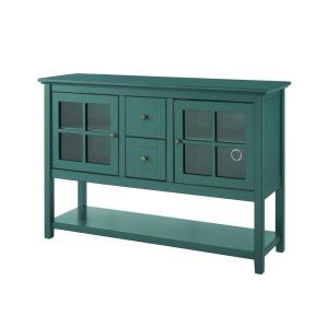 Antique Dark Teal Buffet with Lower Shelf