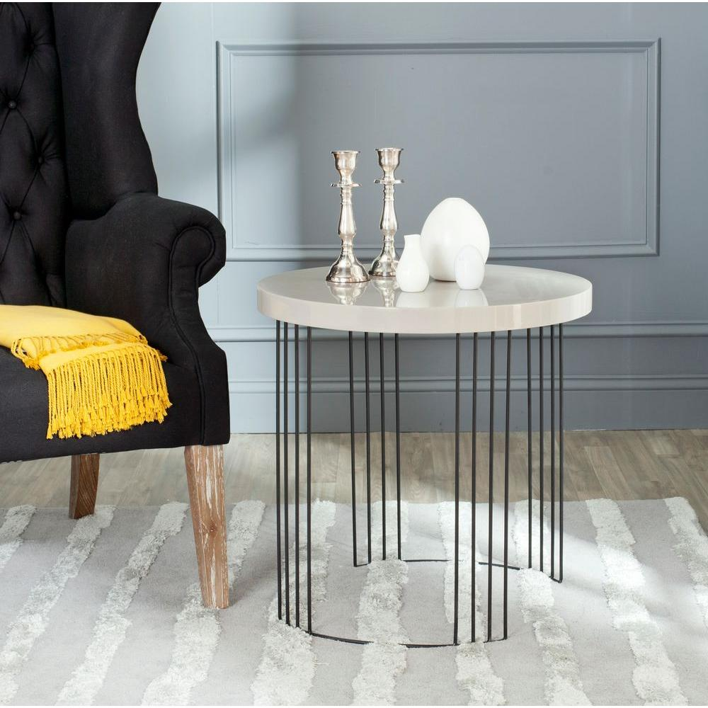Safavieh Kelly Taupe and Black Storage Side Table