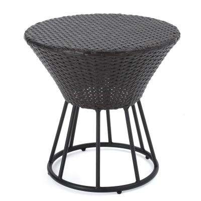 Josiah Multi Brown Round Wicker Outdoor Accent Table