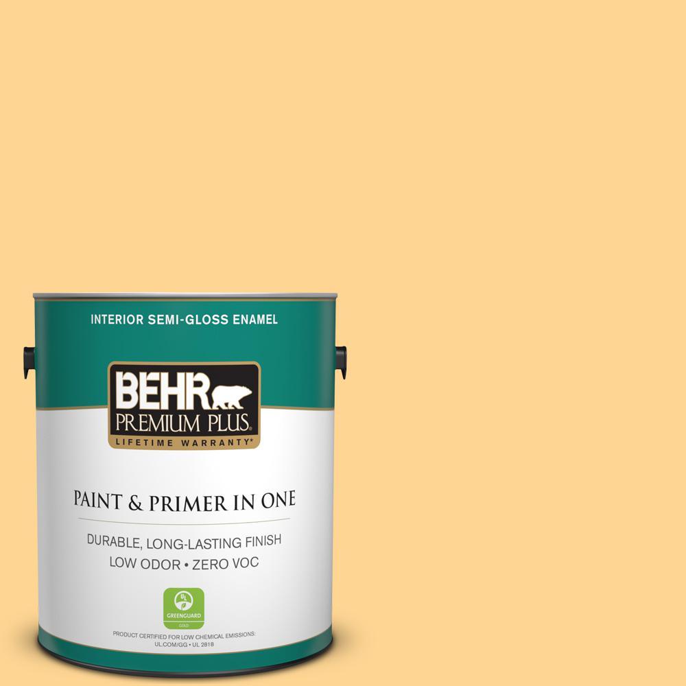 BEHR Premium Plus 1-gal. #310B-4 Cornmeal Zero VOC Semi-Gloss Enamel Interior Paint