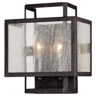 2-Light Aged Charcoal Wall Sconce