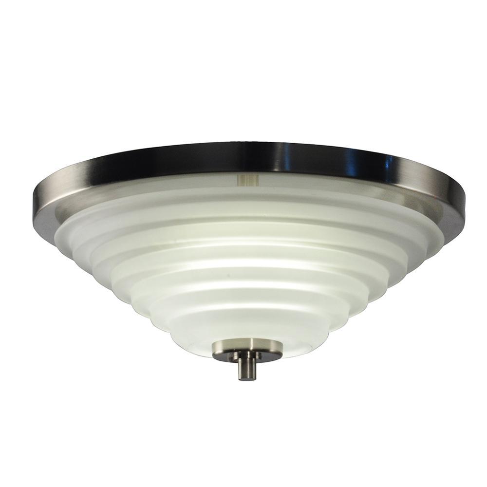 Flushmount lights lighting the home depot solomon 18 watt satin nickel integrated led ceiling flushmount mozeypictures Images