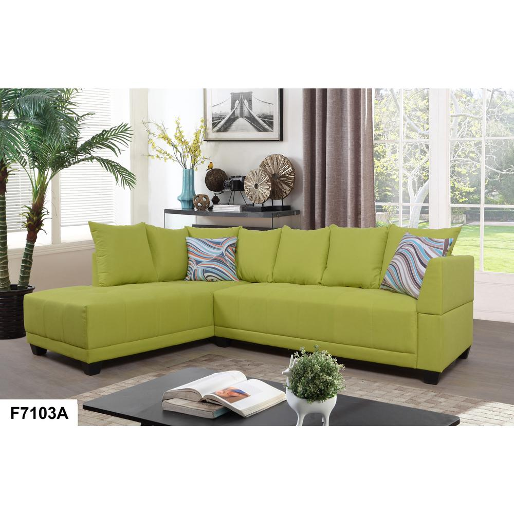 Green Single Tufted Linen Right Sectional Sofa Set 2 Piece