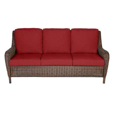 Cambridge Brown Wicker Outdoor Patio Sofa with CushionGuard Chili Red Cushions