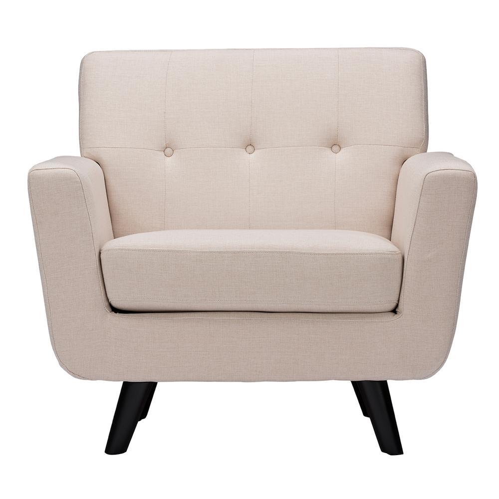 Baxton Studio Damien Scandinavian Beige Fabric Upholstered Accent Chair
