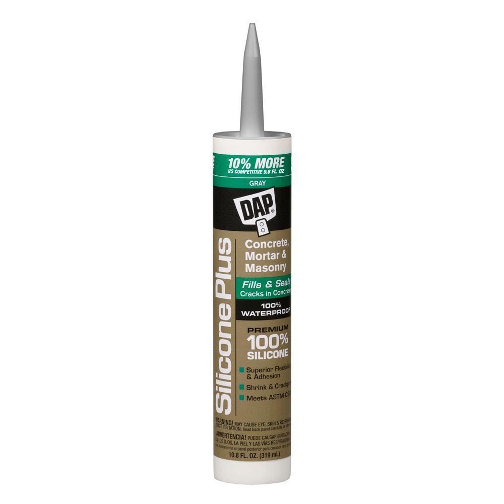 DAP Silicone Plus 10.8 oz. Gray Premium Silicone Rubber Concrete and Masonry Sealant (12-Pack)