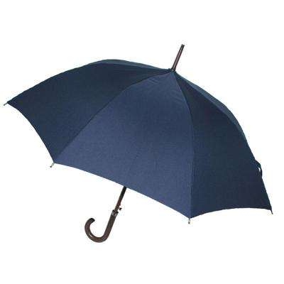 Kenlo 48 in. Arc Walnut Wood Handle Auto Stick Umbrella in Navy