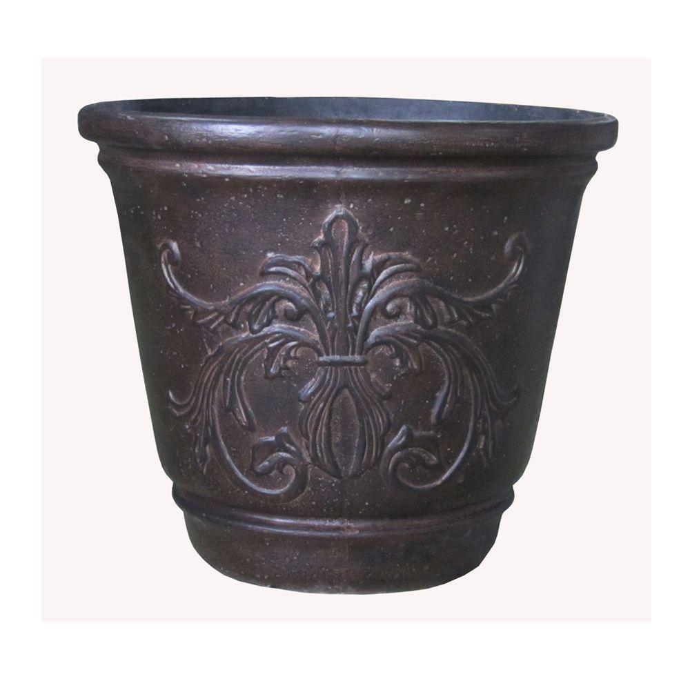 24 In Round Bronze Cast Stone Fleur De Lis Planter