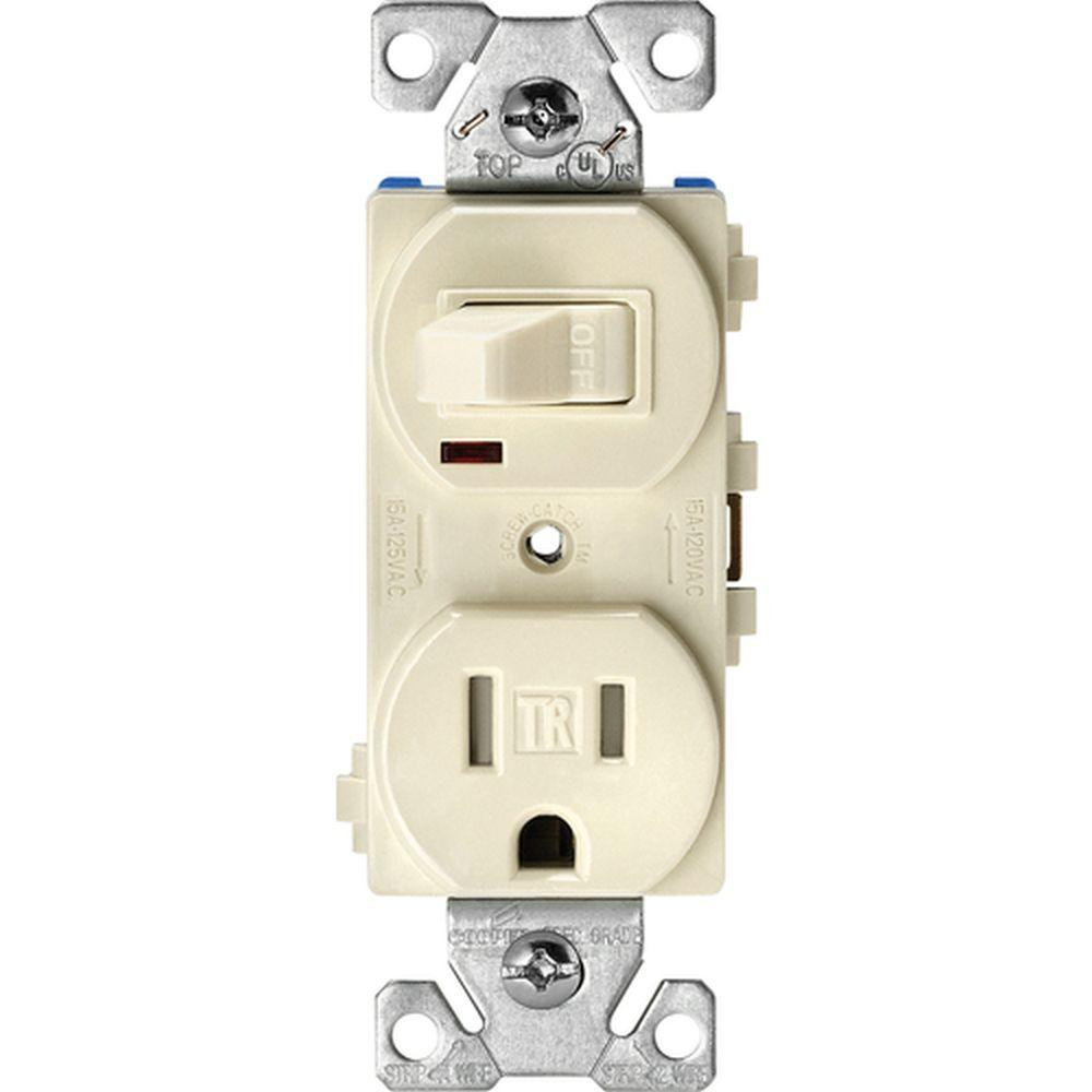 Combo Switch Black Electrical Outlets Receptacles Wiring 15 Amp Circuit Guard Gfci Receptacle Ivory Hd Supply Tamper Resistant Combination Single Pole Toggle And 2