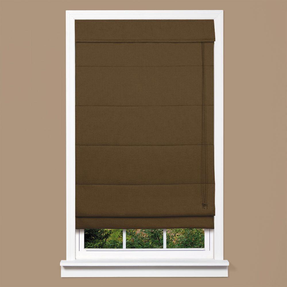 homeBASICS Cocoa Textured Fabric Inaccessible Cord Roman ...