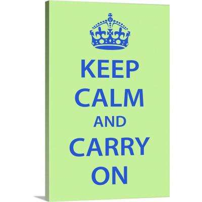 """Keep Calm Wall Art [Blue on Light Green]"" by Kate Lillyson Canvas Wall Art"