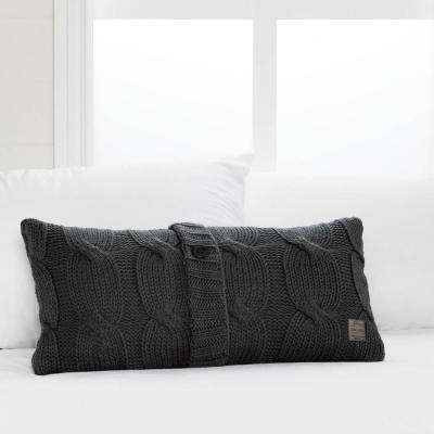 Lodge Gray Cable-Knit Throw Pillow with Decorative Button