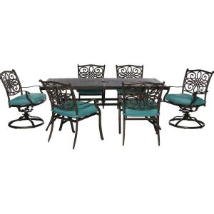 Cambridge Seasons 7-Piece All-Weather Patio Dining Set with Blue Cushions by Cambridge