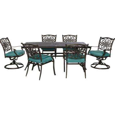 Seasons 7-Piece All-Weather Patio Dining Set with Blue Cushions