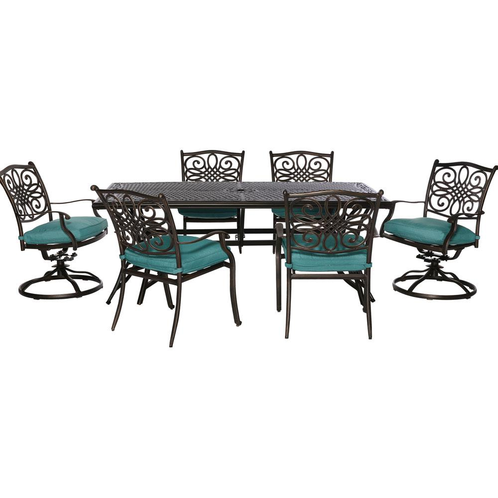 Cambridge Seasons 7-Piece All-Weather Patio Dining Set with Blue Cushions