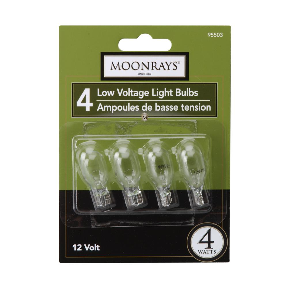 Moonrays 4-Watt Clear Glass T5 Wedge Base Incandescent Replacement Light  Bulb (4-Pack)