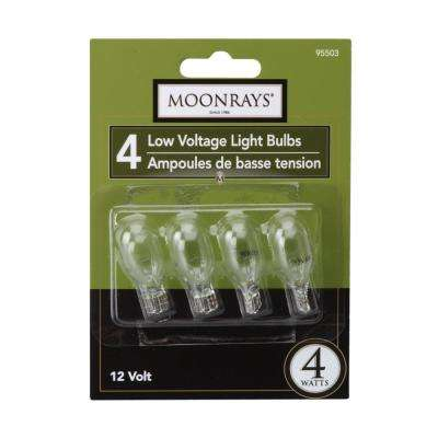 4-Watt Clear Glass T5 Wedge Base Incandescent Replacement Light Bulb (4-Pack)
