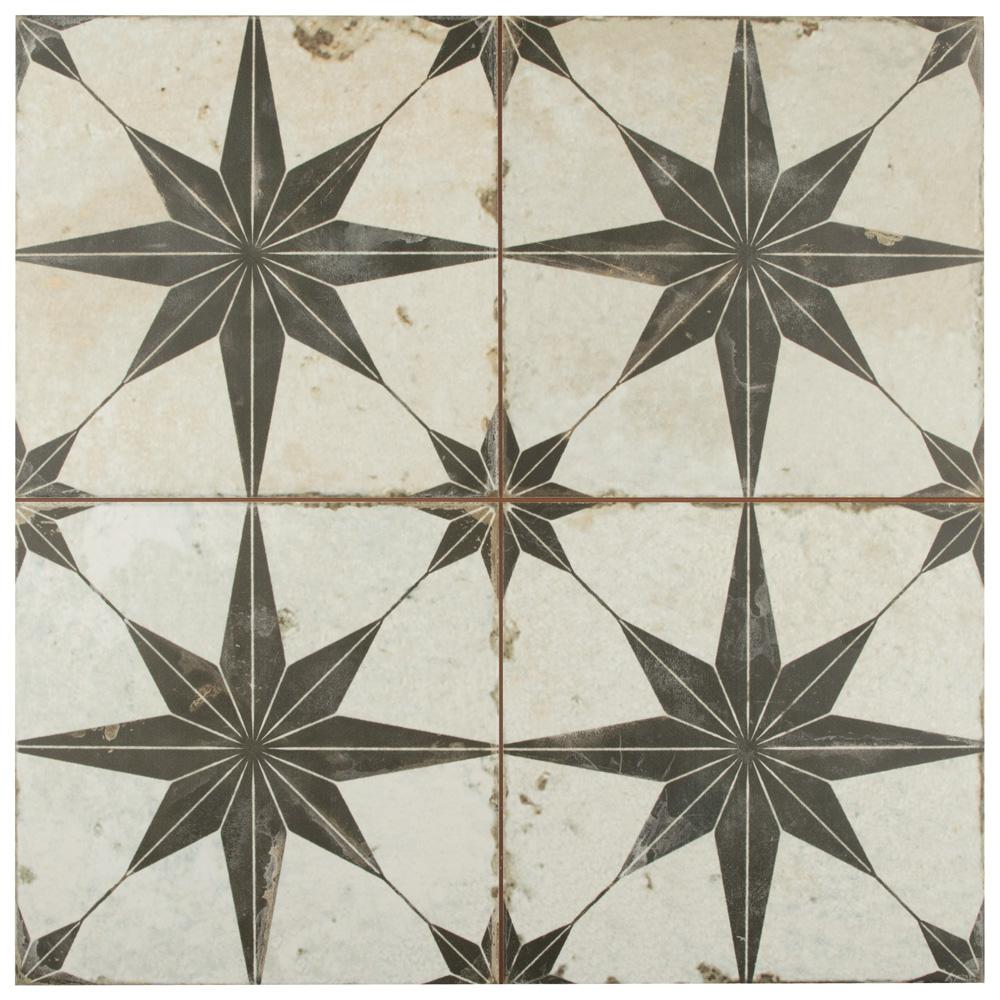 Merola Tile Kings Star Nero Encaustic 17-5/8 in. x 17-5/8 in. Ceramic Floor and Wall Tile (33 cases / 363.66 sq. ft. / pallet)