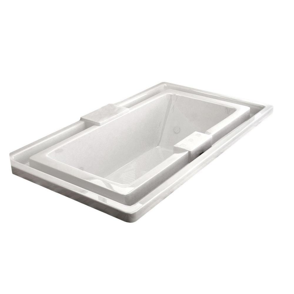 Opal 6.5 ft. Rectangular Drop-in Whirlpool Bathtub in White