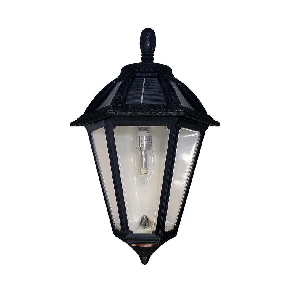 Gama Sonic Polaris Sconce 1 Light Black Outdoor Integrated LED Solar Wall  Mount Sconce With