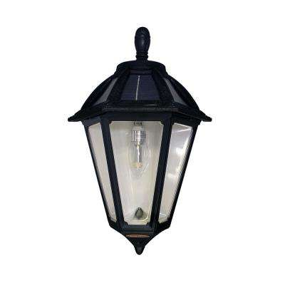 Polaris Sconce 1-Light Black Outdoor Integrated LED Solar Wall Mount Sconce with GS Solar Bulb