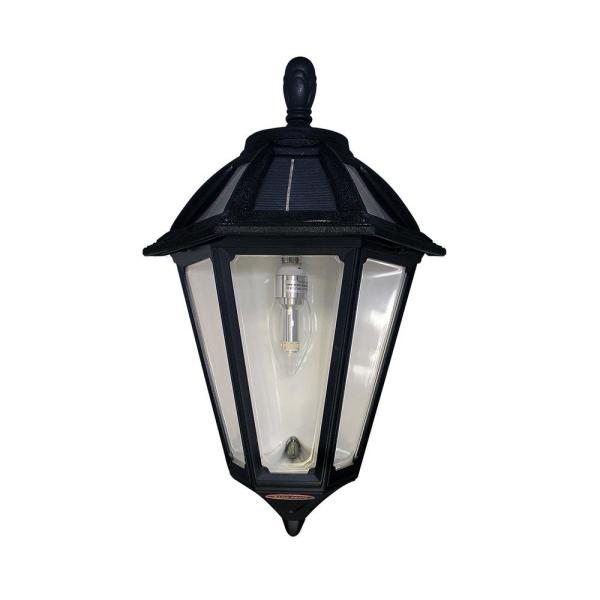 Polaris Sconce 1-Light Black Outdoor Integrated LED Solar Wall Lantern Sconce with GS Solar Bulb