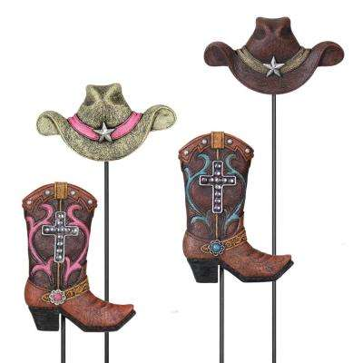 Resin Cowboy Hat and Boot Plant Stake (Set of 2)