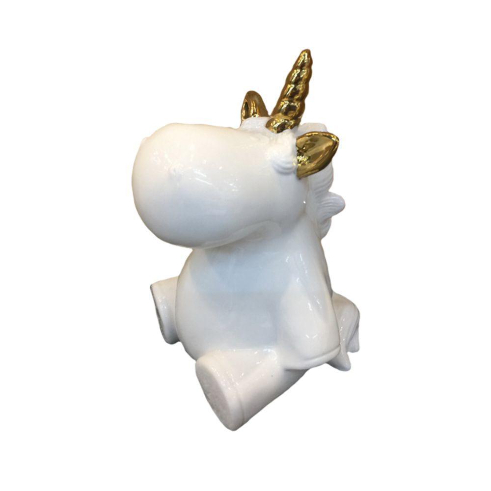Decorative White and Gold Ceramic Baby Unicorn Figurine