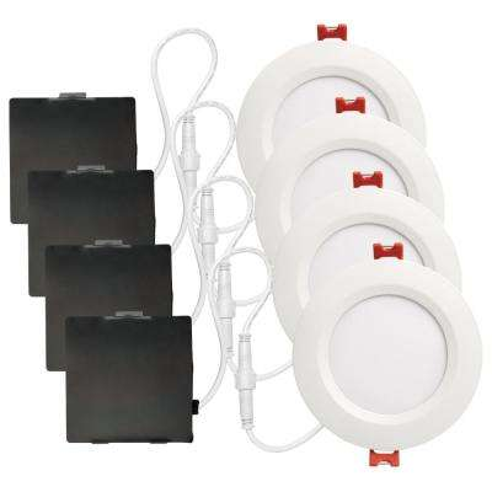 Ultra Slim Designer Series 4 in. White Integrated LED Recessed Kit (4-Pack)
