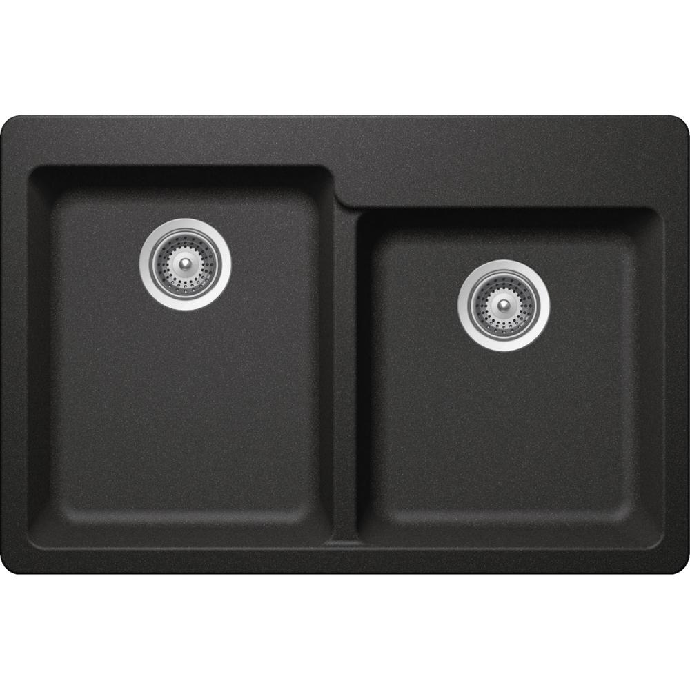 Elkay Elkay by Schock Drop-In/Undermount Quartz Composite 33 in. Square Offset Double Bowl Kitchen Sink in Gray, Dusk Gray