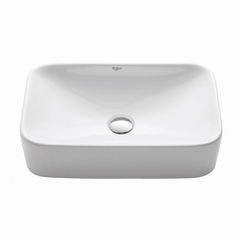 KRAUS Soft Rectangular Ceramic Vessel Bathroom Sink in White