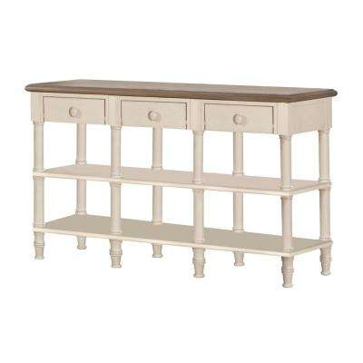 Seneca Driftwood Sofa Table with 3-Drawers - Baskets Not Included